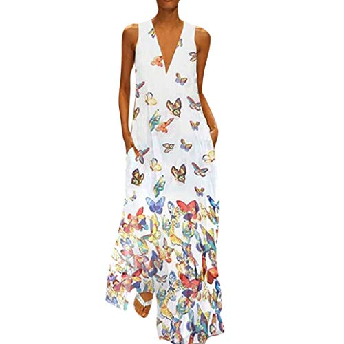 MRULIC Damen Blumen Maxikleid Bohemian A-Linie Lang Kleider Sommerkleid Partykleid V-Ausschnitt ärmellos Strandkleider Boho Lange Bohemian Kleid(C-Weiß,EU-38/CN-M)