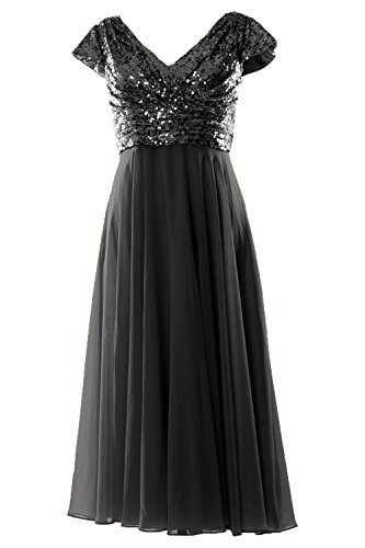 MACloth Women Tea Length Bridesmaid Dress 2019 Cap Sleeve Mother of Bride Dress (48, Black)