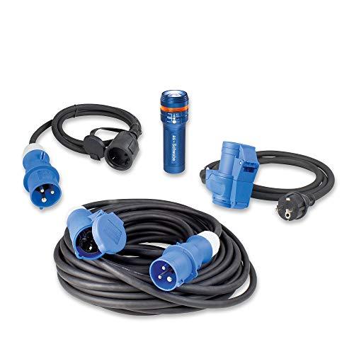 as - Schwabe Outdoor Set, 10m Verlängerungskabel + 2X Adapter-Leitung CEE, Schutzkontaktstecker und Buchse/Kupplung mit Powerlight Spannungsanzeige + Taschenlampe XT1, Blau/Schwarz, 19601