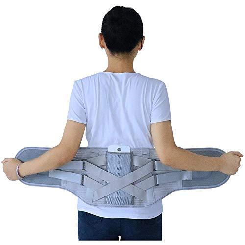 LYEC3 Taillenstützgurt, Airbag Aufblasbarer Taillenstützgurt Lendenwirbelstütze mit breiter Platte und warme Taillenstütze Sports Steel Taillenstütze (Color : Gray, Size : Medium)