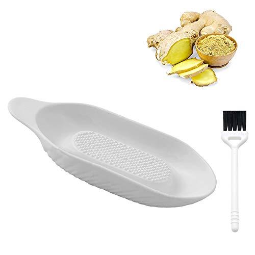 Ingwer Reibe, Keramik Ingwerreibe, Porzellanreibe Platte mit Reinigungsbürste für Ingwer, Knoblauch, Gewürze, Karotten, Babynahrung, Gewürze (Weiß)