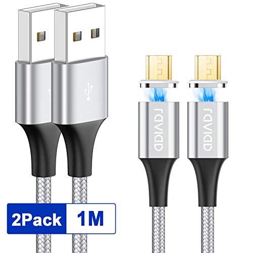 RAVIAD Magnetisches Micro USB Kabel, [2Stück, 1m] Nylon Magnetic Micro USB Sync Datenkabel und Ladekabel Schnellladekabel für Android Samsung S7/S6/J7/Note5, Nexus, Sony, Huawei, Nokia, Kindle