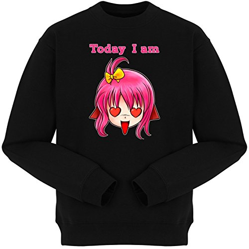 Okiwoki Pull Noir Parodie Today I am - Manga Style - Today I am in Love !! (Sweatshirt de qualité Premium de Taille L - imprimé en France)