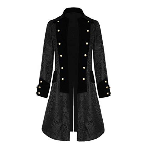 CICIYONER Herren Party Oberbekleidung Print Mantel Frack Jacke Gothic Gehrock Uniform Kostüm S-XXXL (XL, Schwarz-NEU)