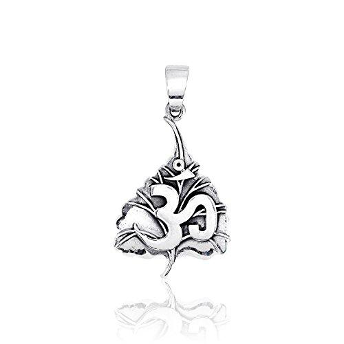 sistakno Sterling Silber 925OM AUM unicodeblock Devanagari Tibet tibetischen auf Sacred Fig Leaf Pappel-Feige Anhänger