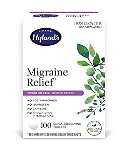 NATURAL RELIEF FOR MIGRAINES: pounding or throbbing pain, dull or frontal headaches, light or noise sensitivity, nausea, dizziness and blurred vision. MADE WITH NATURAL ACTIVE INGREDIENTS: No caffeine, acetaminophen, ibuprofen, naproxen, aspirin or o...