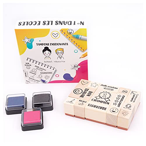 Sello profesor en francés, caja de 14 sellos motivation Entings (Smiley, Champion, Excelente), especial profesor, maestro y...