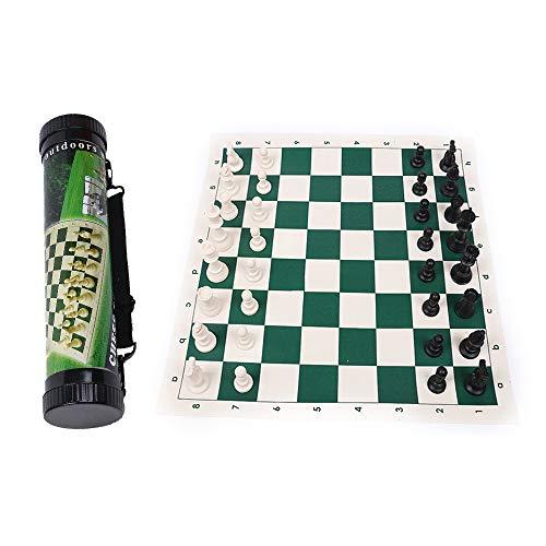 HXHAY Schachspiel, tragbares Outdoor-Reiseschach und Lederbrettschach, Turnier-Roll-Up-Schachbrett für Erwachsene und Kinder (35x35cm)