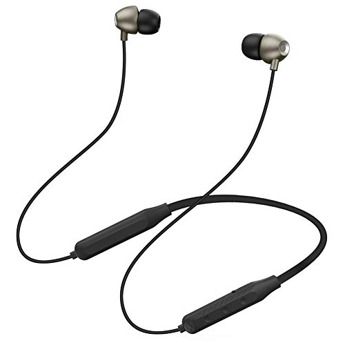 Bluetooth Headphones,Magnetic Neckband Headphones,Auto Pairing Noise Cancelling Sweatproof Foldable 18H Playtime Stereo Noise Cancelling Bass, Wireless Earphones with Mic (Black)