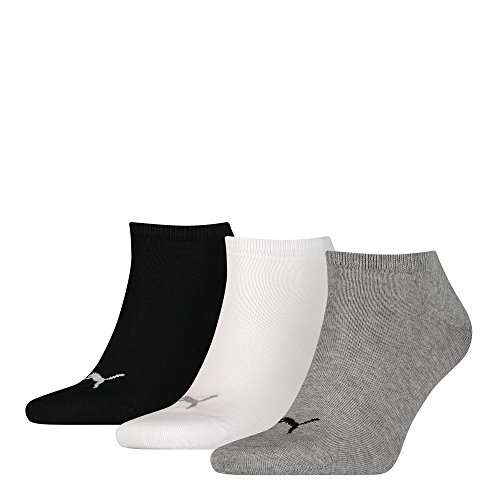 PUMA Unisex Sneakers Socken Sportsocken 6er Pack, 6paar = Grau/Weiß/Schwarz, 35/38