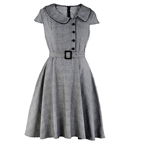 Damen Retro Kleid Plaid Nähte Puppe Kragen Swing Kleid Mode ärmellose hohe Taille große Swing Kleid Sommer Elegante Prinzessin Kleid Sonojie