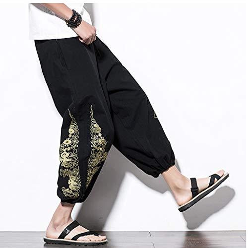 Loose Fit Haremshose Herren Leinen-Hose lange Hose bequeme Stoffhose aus hochwertiger Leinenmischung Sommerhose für Männer