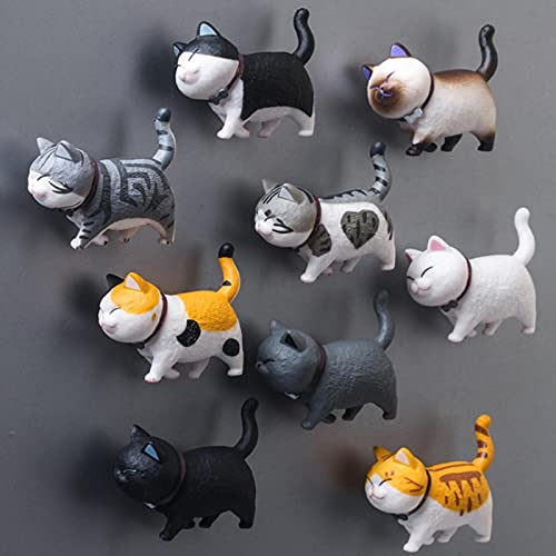 Ligoi 9pcs Lovely Cat Series Refrigerator Magnet 3d Cat Magnet Home Decoration Creative Gift Animal Refrigerator Sticker