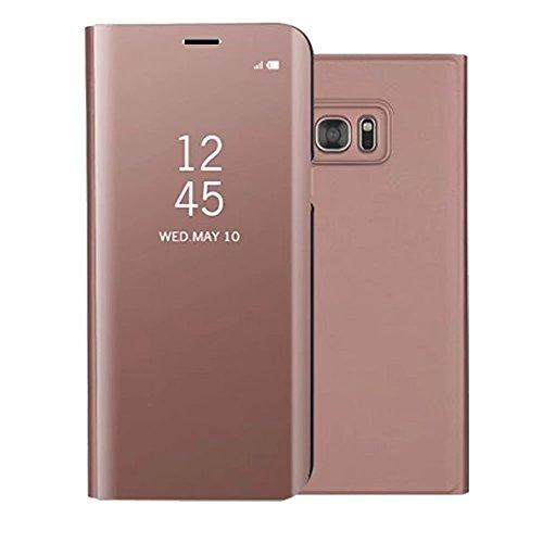 Sycode Screen Protector Roségold Slim Fit Clear Standing View Spiegel Hülle Beirftasche für Samsung Galaxy S7-Roségold Mirror