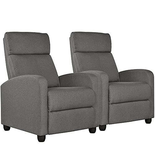 Yaheetech 2-Seat Fabric Pushback Recliner Chair Living Room Chair with Thick Seat Cushion and Backrest Reclining Chair for Living Room Grey