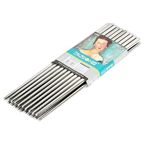Olivia tree Chopsticks Non-Slip Grooves - Strong 10 Pairs Stainless Steel Vacuum Hollow Chopsticks