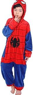 LINLIN Unisex superhéroe Spiderman Ropa de Noche del chándal de una Sola Pieza de Vestir Ropa de Dormir Polar del Mono Polar Pijamas Todo-en-uno Pijamas,Blue- Kids/ 5~6year/116cm