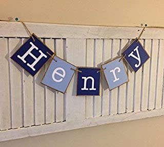 Personalized Name Banner Baby Boy Shower Nursery Newborn Photo Prop Infant Gift Shades of Blue