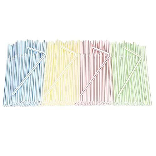 LGLG 400 pajitas de plástico desechables, 5 mm, clásicas a rayas, para fiestas, bares, cafeterías, etc.