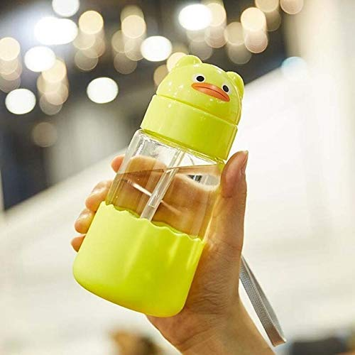 Zcm Straw Cup 320ml Cartoon Animal Dinosaur Glass Drinking Water Straw Cup Straw Sippy Cup with Hand Strap and Silicone Cover (Color : Yellow Duck)