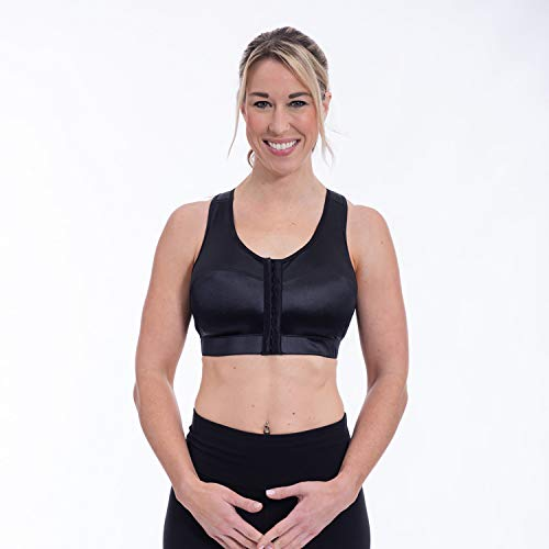 ENELL, Racer, Women's Full Coverage Racerback Sports Bra - Black, Size 2