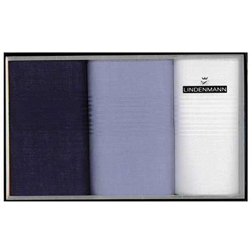 Lindenmann Handkerchiefs for men, 3-pack, white-blue, 50019-001