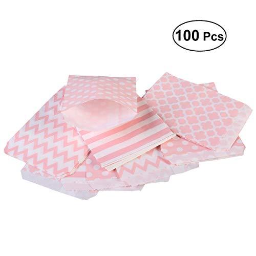 BESTOYARD 100 Stück Verschiedene Muster Geburtstag Hochzeit Candy Bar Beutel Party Geschenktüten Papiertüten Rosa