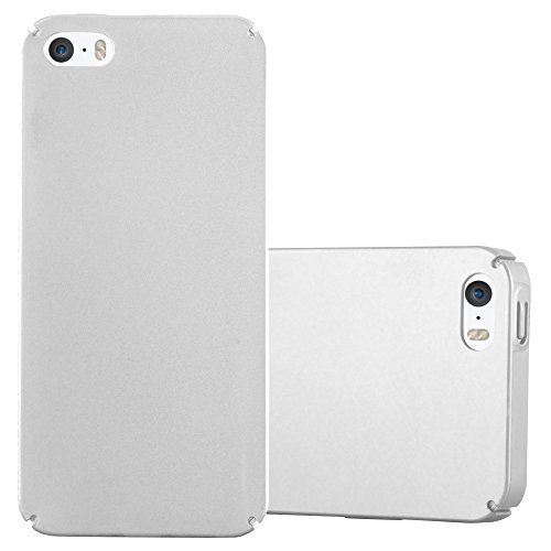 Cadorabo Custodia per Apple iPhone 5 / iPhone 5S / iPhone SE in ARGENTO METALLO - Rigida Cover Protettiva Sottile con Bordo Protezione - Back Hard Case Ultra Slim Bumper Antiurto Guscio Plastica