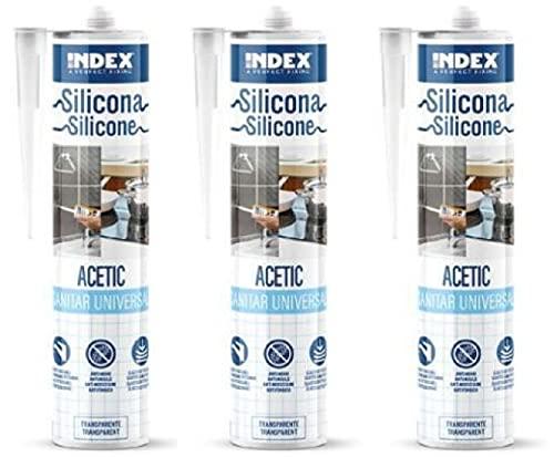 Silicona sanitaria universal, color blanco transparente, 280 ml, resistente al moho, resistente a los rayos UV y a la intemperie, silicona sanitaria para ducha y baño (3, transparente)
