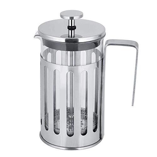 DZX Edelstahl Isolierte Kaffeepresse, Edelstahlglas French Press Filter Kaffeekanne Edelstahl Kochfeld Kaffeekanne Stützofen und Feuer Socialme (600ml)