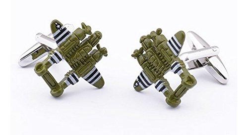 GuDeKe Aircraft Military Spitfire Fighter Bomber Painting Print Shape Cufflinks for Men Boutons de Manchette pour Les Hommes