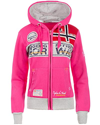Geographical Norway Bans Production - Felpa con cappuccio da donna Rosa acceso. XL