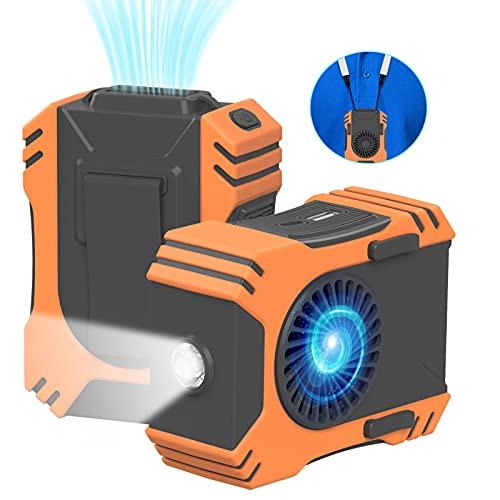 Mini ventilador USB con clip en la cintura 7100 RPM, linterna / SOS y banco de energía portátil de 7000 mAh, ventilador personal de enfriamiento de cuello 5 en 1 para trabajadores, senderismo, cocina