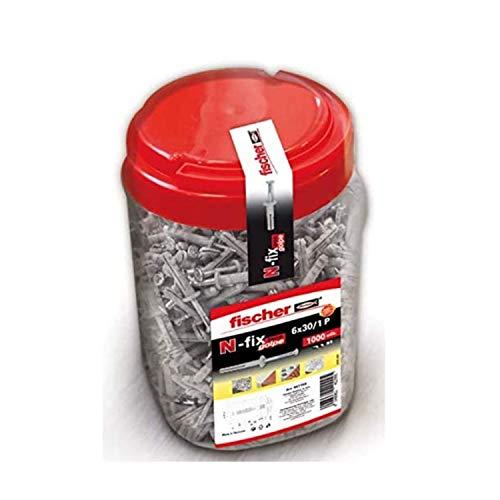 fischer - Tornillo y taco de golpe de acero N 6x30/1 para hormigón, Bote 1000 unidades
