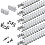 Profilé Aluminium LED - 6x1mètre Aluminium Profilé U-forme pour Bandes à LED, Compact Finition Professionnelle avec Blanc Laiteux Couvercle,Embouts,Clips de Montage en Métal