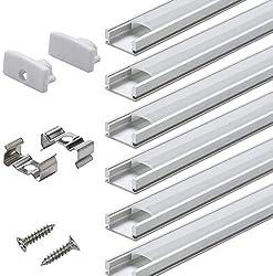 Profilé Aluminium LED - 6x1mètre Aluminium Profilé U-forme pour Bandes à LED , Compact Finition Professionnelle avec Blanc Laiteux Couvercle,Embouts,Clips de Montage en Métal: Amazon.fr: Luminaires et Eclairage