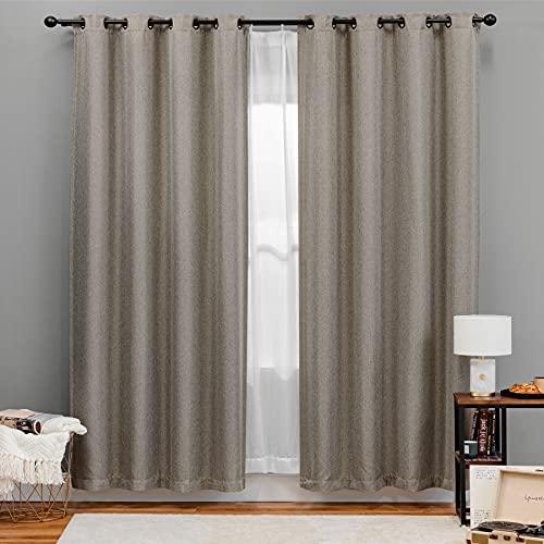 Bedsure Linen Curtains 84 inch Length 2 Panels Set, Blackout Beige Curtains for Living Room,Linen Textured Drapes (52x84inch,Beige/Tan)