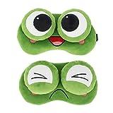 Haoohu 2 Packs Cute Frog Sleep Eye Mask Funny Frog Sleeping Masks Eye Cover Soft Blindfold for Women Men Kids