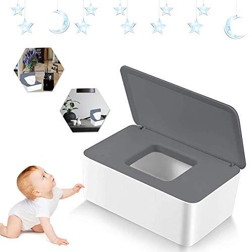 Feuchttüchter Box Feuchtes Toilettenpapier Box Baby Tücher Fall Feuchttücher Box Baby Tissue Aufbewahrungskoffer mit Deckel für Zuhause und Büro (grau)