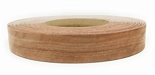 Edge Supply Brand Mahogany 2 x 25 Roll Preglued, Wood Veneer Edge Banding, Flexible Wood Tape, Easy Application Iron On with Hot Melt Adhesive. Smooth Sanded Finish Veneer Edging. Made in USA.