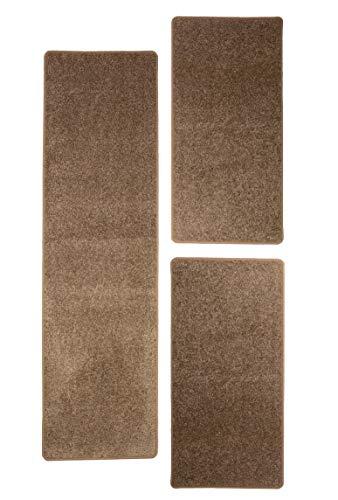 misento Shaggy Hochflor Teppich für Wohnzimmer Langflor, schadstoff geprüft 100 % Polypropylen,  taupe Bettumrandung: 1x 67 x 250 cm 2x 67 x 140 cm