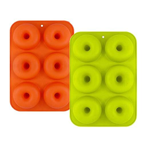 CXZC 2 moldes de silicona para donuts, antiadherentes, para tartas, galletas, bagels, muffins, aptos para lavavajillas, horno, microondas, frigorífico