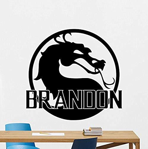 Personalized Mortal Kombat Wall Decal Custom Name Logo Dragon Emblem Movie Superhero Stencil Poster Comics Superheroes Vinyl Sticker Wall Art Kids Teen Boy Bedroom Decor Mural 165RT (MK X Font)