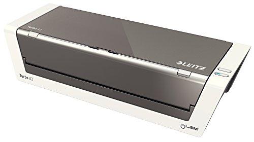 Leitz A3 Laminiergerät, Touch 2 Turbo, Ideal für Büro und Schule, Weiß Hochglanz/Anthrazit, iLam, 75200000