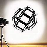 Calcomanía de pared de cine tira de película cartel de película decoración de cine en casa sala de juegos pegatina de vinilo vídeo estudio de película arte Mural 57 * 58 cm
