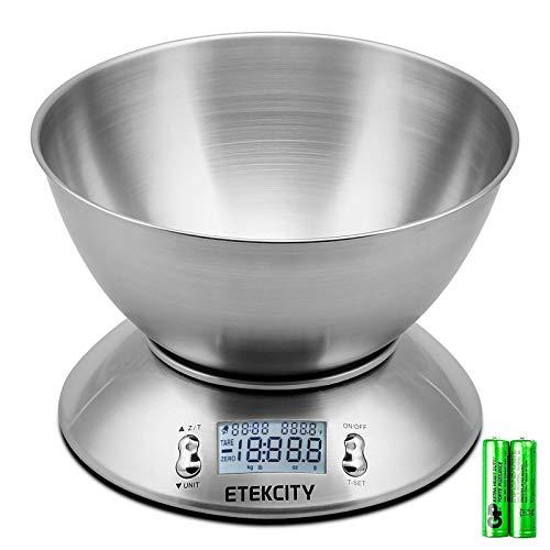 Etekcity Balance Cuisine Electronique 5 kg/1g en Inox,Balance de Précision avec Grand Ecran Rétroéclairé et Minuteur, Bol Amovible, Fonction Tare, Auto-arrêt, Piles Fournies