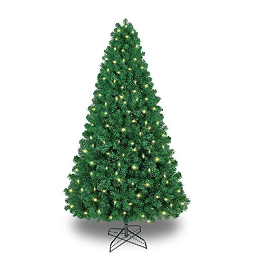 SHareconn 6.5ft Pre-lit Premium Artificial Christmas Tree, Xmas Tree with 330 Warm Lights, 1180 Branches & Metal Stand