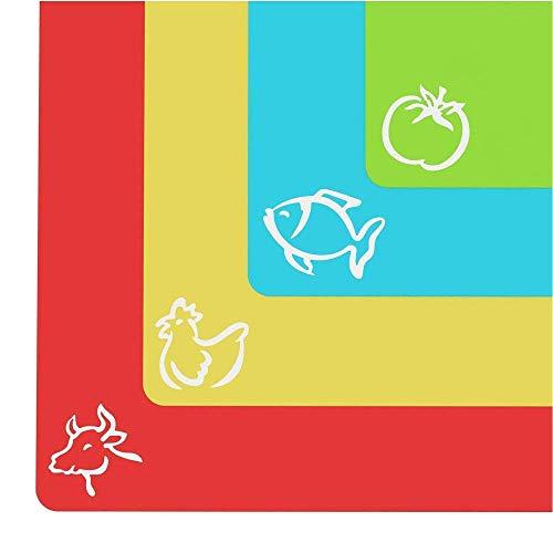 Planche à découper extra épaisse en plastique souple - Planche avec dessins de nourriture et revêtement arrière « EZ-Grip » gaufré (lot de 4) par Cooler Kitchen