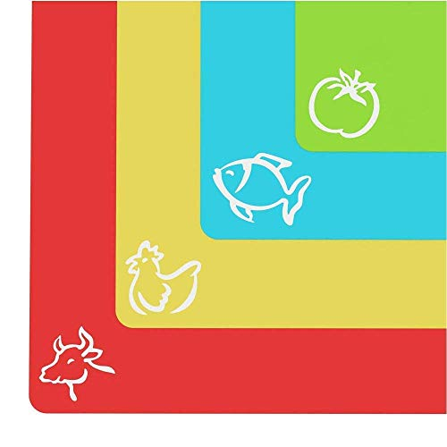 Extra Thick Flexible Plastic Cutting Board Mats With Food Icons & 'EZ-Grip' Waffle Back, (Set of 4) - Textured Waffle Grip Bottom Prevents Slipping On Most Counter tops - Prevents Cross Contamination