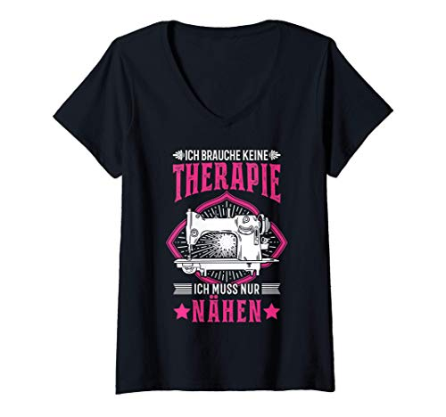 Damen Schneiderin Therapie Nähmaschine Hobbyschneiderin Näherin T-Shirt mit V-Ausschnitt